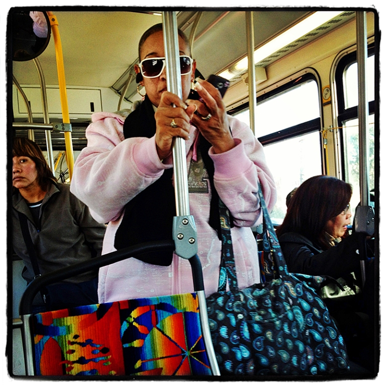 Woman with Cellphone on Metro Blog iDiarist