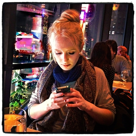 Ali Texting Above Times Square Blog iDiarist